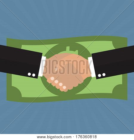 Business partnership meeting and successful businessmen handshaking after good deal with dollar banknote on sunray background.Business success concept.