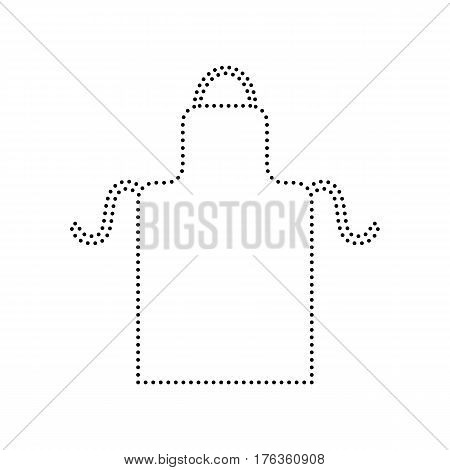 Apron simple sign. Vector. Black dotted icon on white background. Isolated.