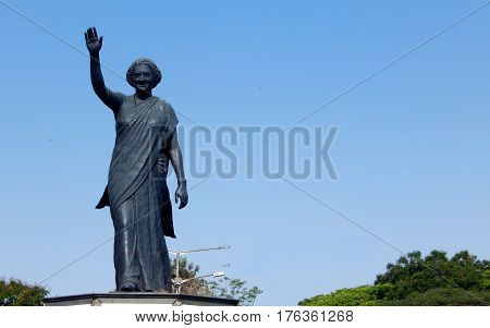 HYDERABAD,INDIA-MARCH 5:Statute of Mrs Indira Gandhi second longest serving Ex Prime Minister of India on March 5,2017 in Hyderabad,India