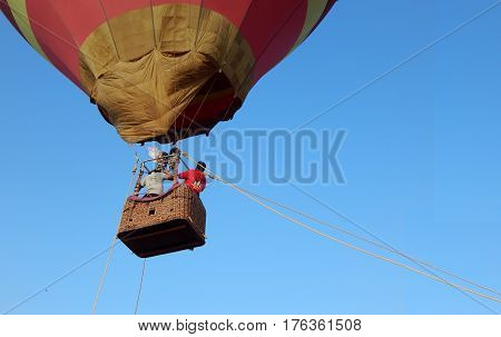 HYDERABAD,INDIA-MARCH 5:People demonstrate the Hot air balloon adventurous activity,with volunteers flying on International women day on March 5,2017 in Hyderabad,India
