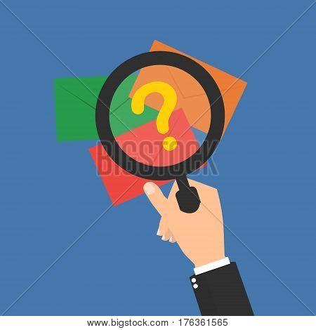 Businessman hand with magnifying glass for seeing unkonwn email for protected malware virus. Vector illustration business finance concept design.