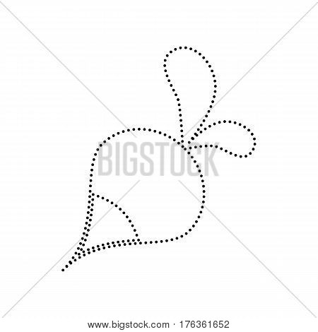 Radish simple sign. Vector. Black dotted icon on white background. Isolated.