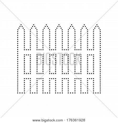 Fence simple sign. Vector. Black dotted icon on white background. Isolated.