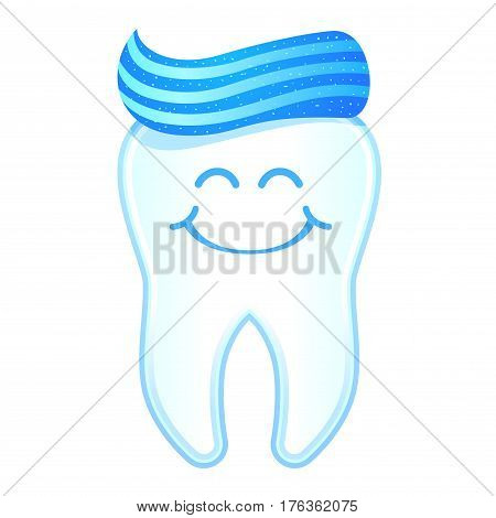 Vector stock of happy smiling tooth character with tooth paste as its hair