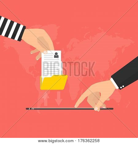 Hacker steal personal privacy data from online mobile phone. Vector illustration cybercriminals concept.