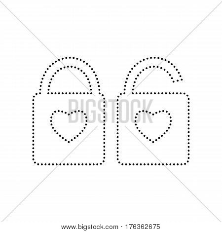 lock sign with heart shape. A simple silhouette of the lock. Shape of a heart. Vector. Black dotted icon on white background. Isolated.