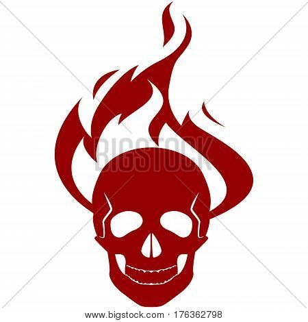 Human skull on fire. The illustration on a white background.