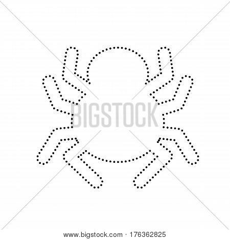 Spider sign illustration. Vector. Black dotted icon on white background. Isolated.
