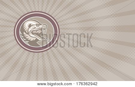 Business card showing Illustration of a rattle snake viper serpent head facing front set inside ova done in retro style.