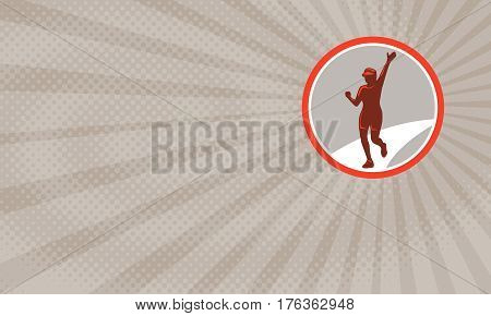 Business card showing Illustration of woman marathon triathlete runner running winning finishing race set inside circle done in retro style.