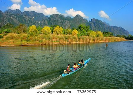 Motorboat Moving On Nam Song River In Vang Vieng, Vientiane Province, Laos
