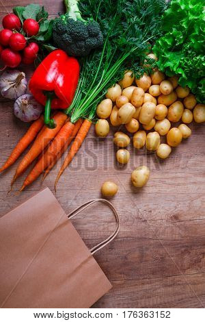 Vegetables. Potatoes, carrot and red pepper. Lettuce salad, garlic and brocoli. Red radish. Shopping bag.