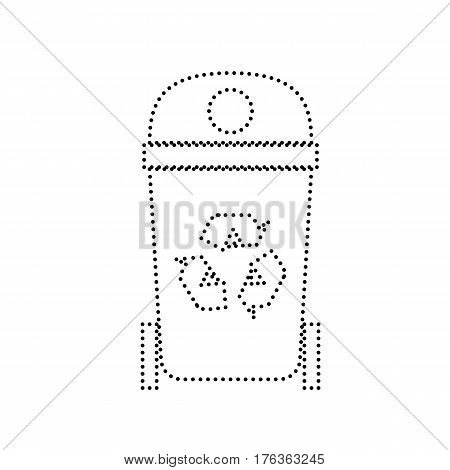 Trashcan sign illustration. Vector. Black dotted icon on white background. Isolated.