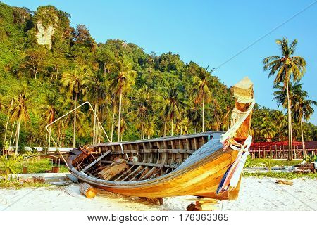 Longtail Boat Lying At Ao Ton Sai Beach On Phi Phi Don Island, Krabi Province, Thailand
