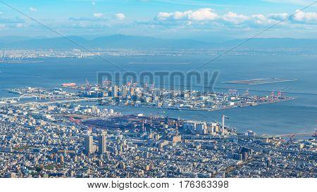 aerial view of Kobe city from mount Maya, Japan