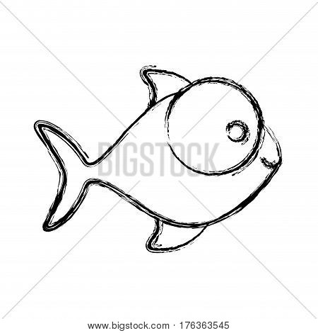 contour fish with big eyes icon, vector illustration design