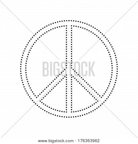 Peace sign illustration. Vector. Black dotted icon on white background. Isolated.