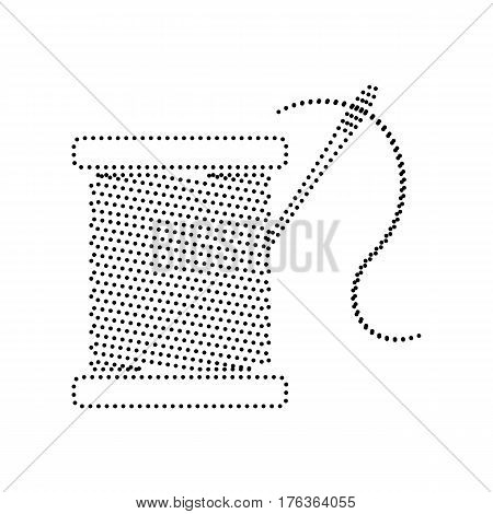 Thread with needle sign illustration. Vector. Black dotted icon on white background. Isolated.