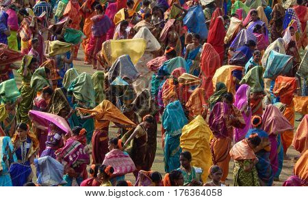 HYDERABAD,INDIA-MARCH 5:Indian women wait to perform Lavani Dance,Maharashtra art form, on International women day on March 5,2017 in Hyderabad,India