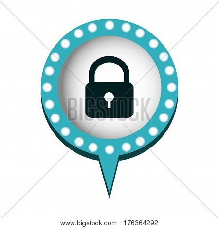 chat bubble with padlock icon, vector illustration design