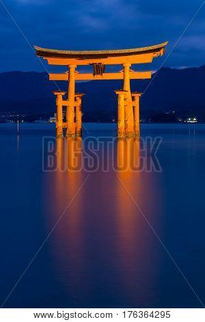 The Floating Otorii Gate At Miyajima At Dusk, Japan
