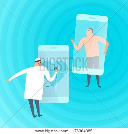 Doctor exams patient's heartbeat by phone. Online tele medicine flat concept illustration. Medic with stethoscope listens heart at smartphone screen. Telemedicine telehealth vector design element.