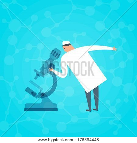 Doctor looking through a microscope. Medicine science research flat concept illustration. Scientist in chemistry lab conducting experiments. Medic in biochemistry doing tests. Medical vector design.