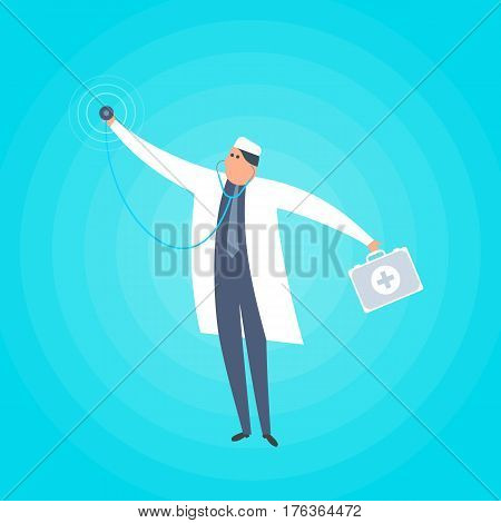 Doctor standing with stethoscope and medical suitcase. Healthcare first-aid ambulance urgent care flat concept illustration. Medical health care vector design element for web social networks.