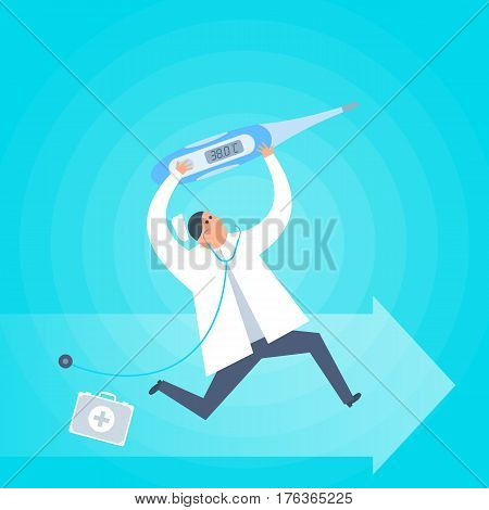 Doctor with a thermometer runs to a patient. First-aid ambulance urgent care flat concept illustration. Medic with temperature measurement tool. Medical healthcare treatment vector design element