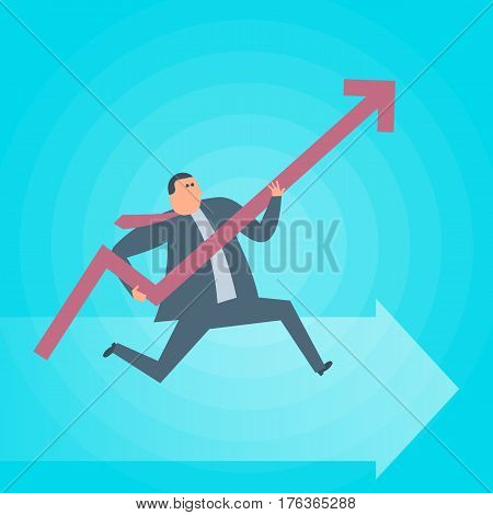 Businessman runs with increasing graph arrow. Business success flat concept illustration. Man growth arrow as a symbol of advance in management. Profit income improve business vector design element