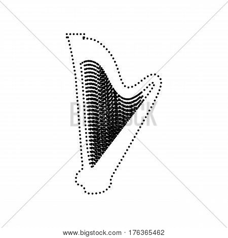 Musical instrument harp sign. Vector. Black dotted icon on white background. Isolated.