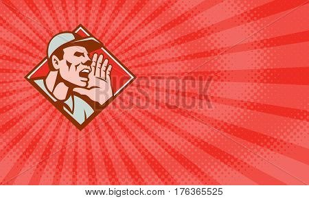 Business card showing Illustration of a worker wearing hat looking up shouting done in retro style set inside diamond shape.