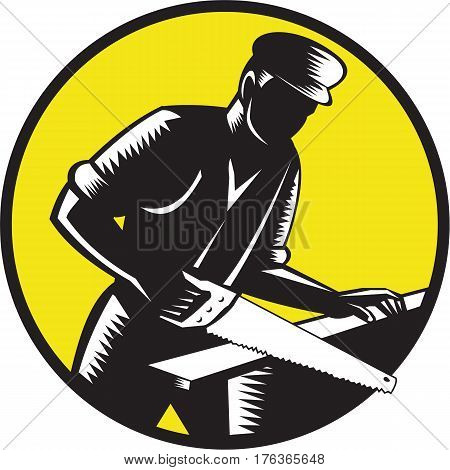 Illustration of a 19th century carpenter builder holding wearing hat sawing wood set inside circle done in retro woodcut style.