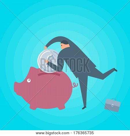 Businessman with money and piggy-bank. Business and finance flat concept illustration. Toss a dollar coin into a piggy bank. Currency savings investment wealth and management vector design element.