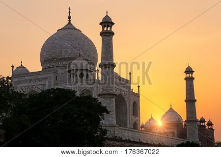 Taj Mahal At Sunset In Agra, Uttar Pradesh, India.