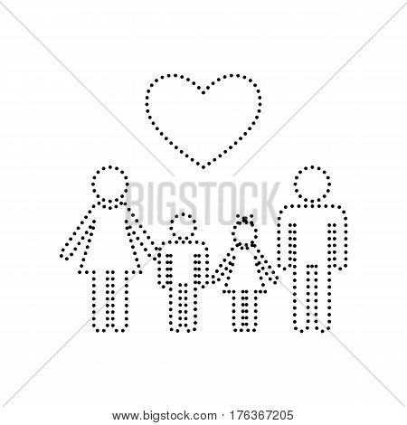 Family symbol with heart. Husband and wife are kept children's hands. Vector. Black dotted icon on white background. Isolated.