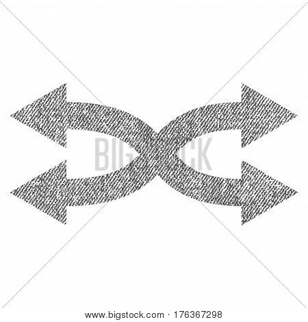 Shuffle Arrows Horizontal vector textured icon for overlay watermark stamps. Fabric gray vectorized texture. Symbol with scratched design. Rubber seal stamp with fiber textile structure.