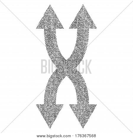 Shuffle Arrows Vertical vector textured icon for overlay watermark stamps. Fabric gray vectorized texture. Symbol with unclean design. Rubber seal stamp with fiber textile structure.