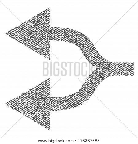 Split Arrows Left vector textured icon for overlay watermark stamps. Fabric gray vectorized texture. Symbol with dirty design. Rubber seal stamp with fiber textile structure.