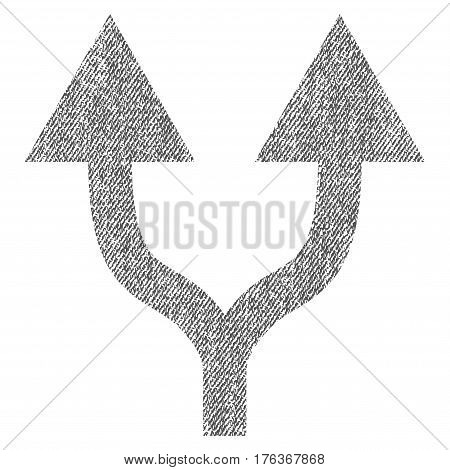 Split Arrows Up vector textured icon for overlay watermark stamps. Fabric gray vectorized texture. Symbol with dust design. Rubber seal stamp with fiber textile structure.
