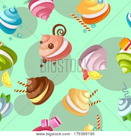 Seamless pattern multicolored marshmallows meringue decorated with candy chocolate