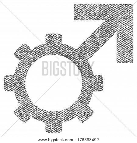 Technological Potence vector textured icon for overlay watermark stamps. Fabric gray vectorized texture. Symbol with dirty design. Rubber seal stamp with fiber textile structure.