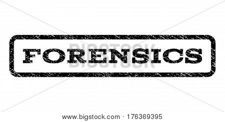 Forensics watermark stamp. Text caption inside rounded rectangle frame with grunge design style. Rubber seal stamp with dirty texture. Vector black ink imprint on a white background.