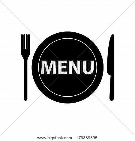 Kitchen icon of dish, fork and knife. Menu icon flat.