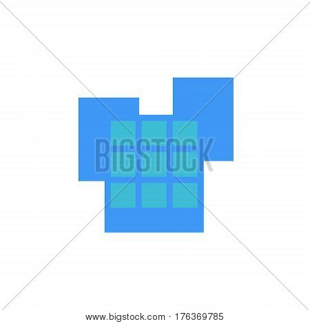 Vector icon or illustration showing place with office buildings in material design style