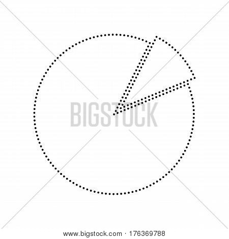 Finance graph sign. Vector. Black dotted icon on white background. Isolated.