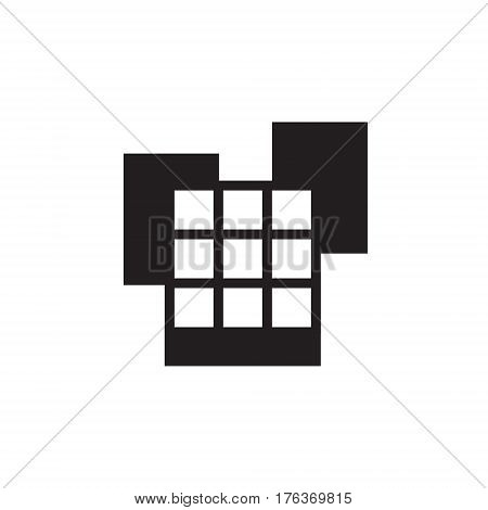 Vector icon or illustration showing place with office buildings in one color
