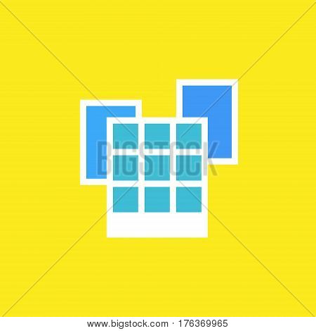 Vector icon or illustration showing place with office buildings in outline style