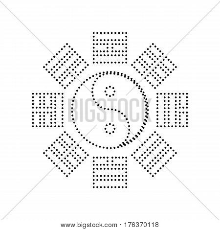 Yin and yang sign with bagua arrangement. Vector. Black dotted icon on white background. Isolated.