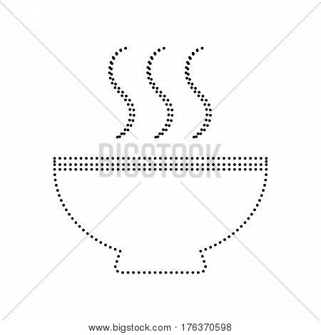 Soup sign. Vector. Black dotted icon on white background. Isolated.